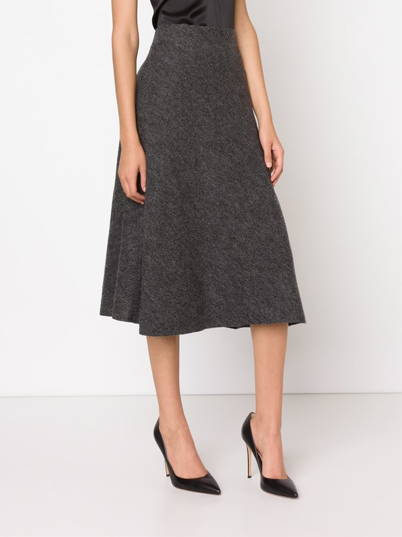 Protagonist Flared Midi Skirt in Gray | Lyst
