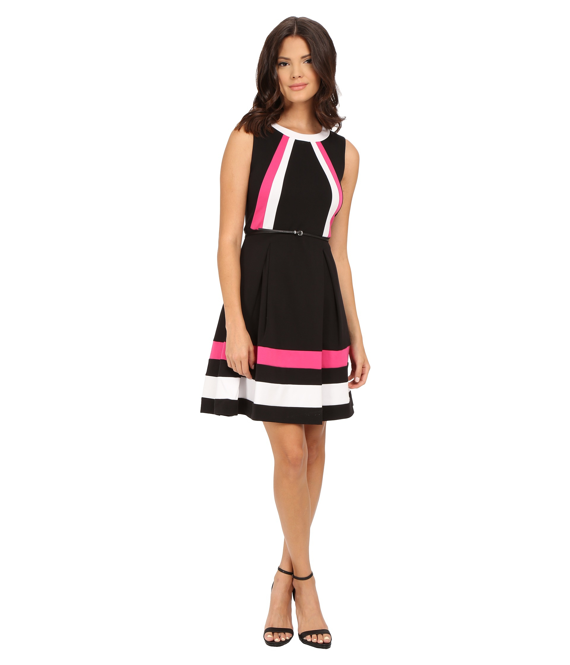 Calvin Klein Synthetic Color Block Fit Amp Flare Dress In
