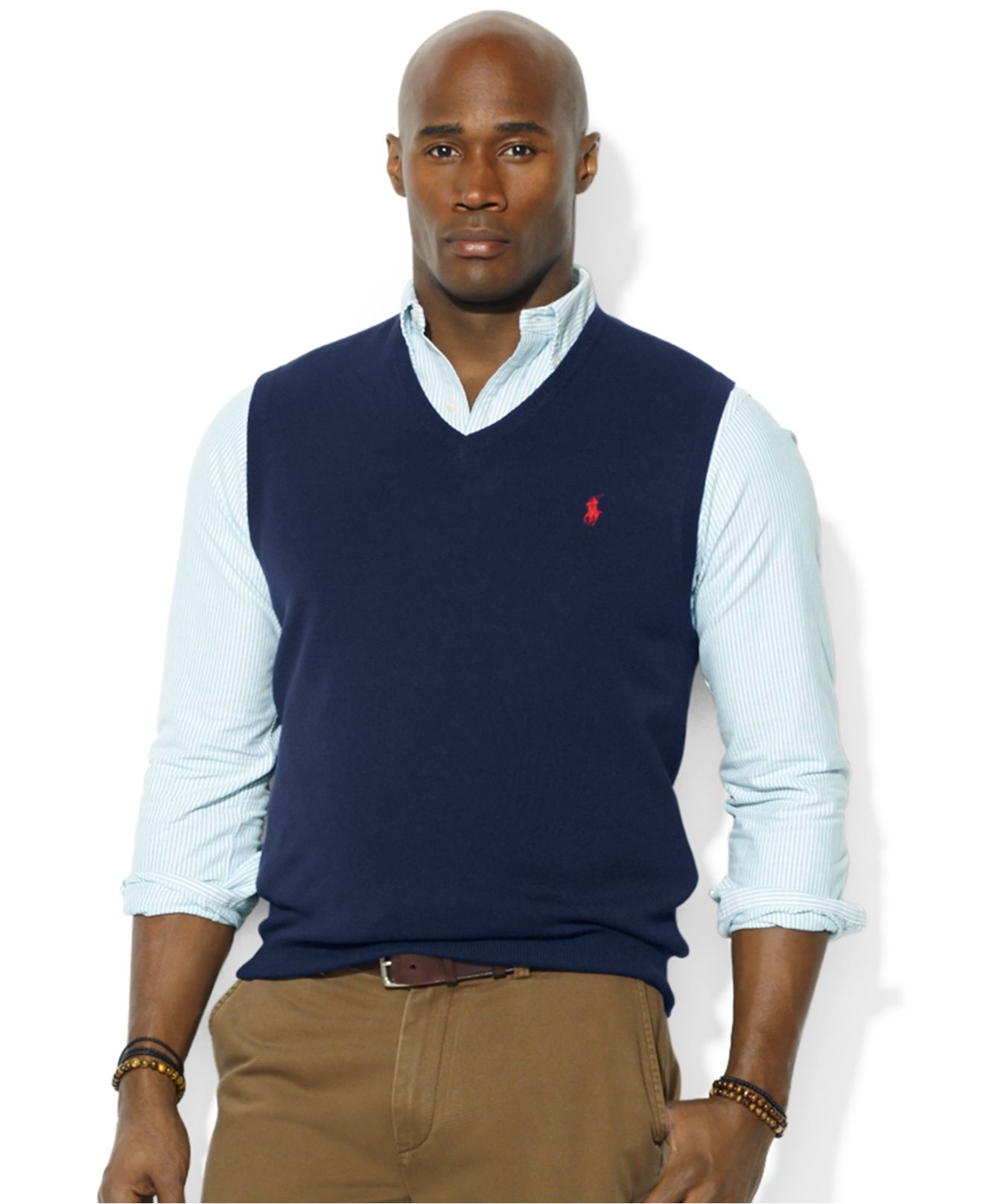 Polo ralph lauren V-Neck Merino Wool Sweater Vest in Blue for Men ...