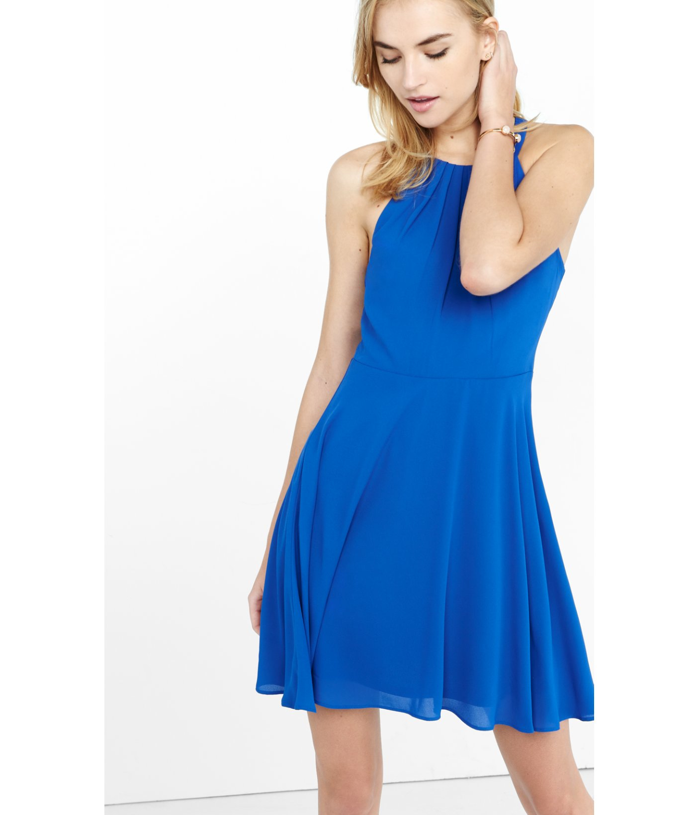Express Fit And Flare Halter Dress in Blue | Lyst