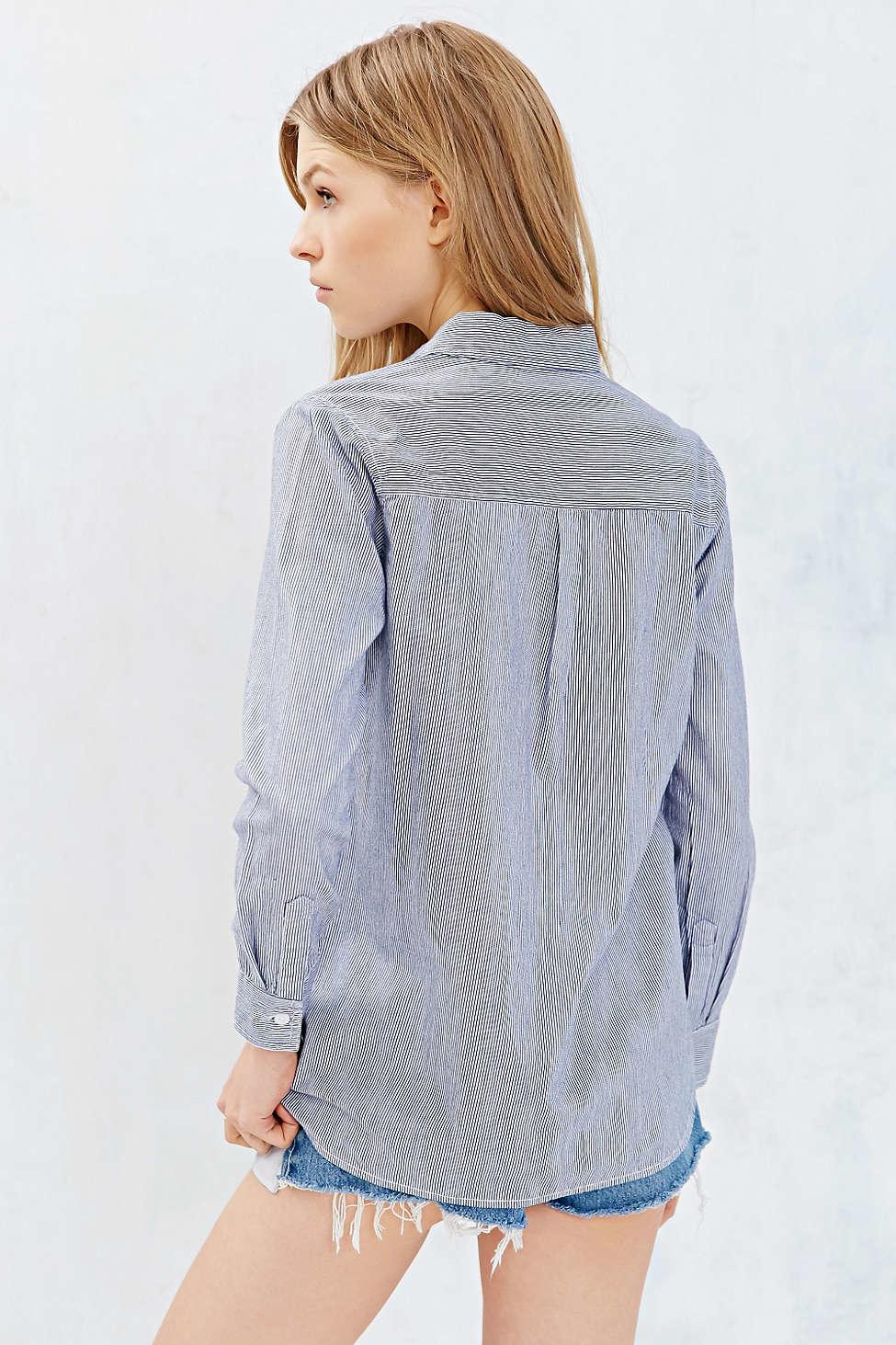 c2e174b942d Lyst - BDG Classic White Oxford Button-down Shirt in Blue