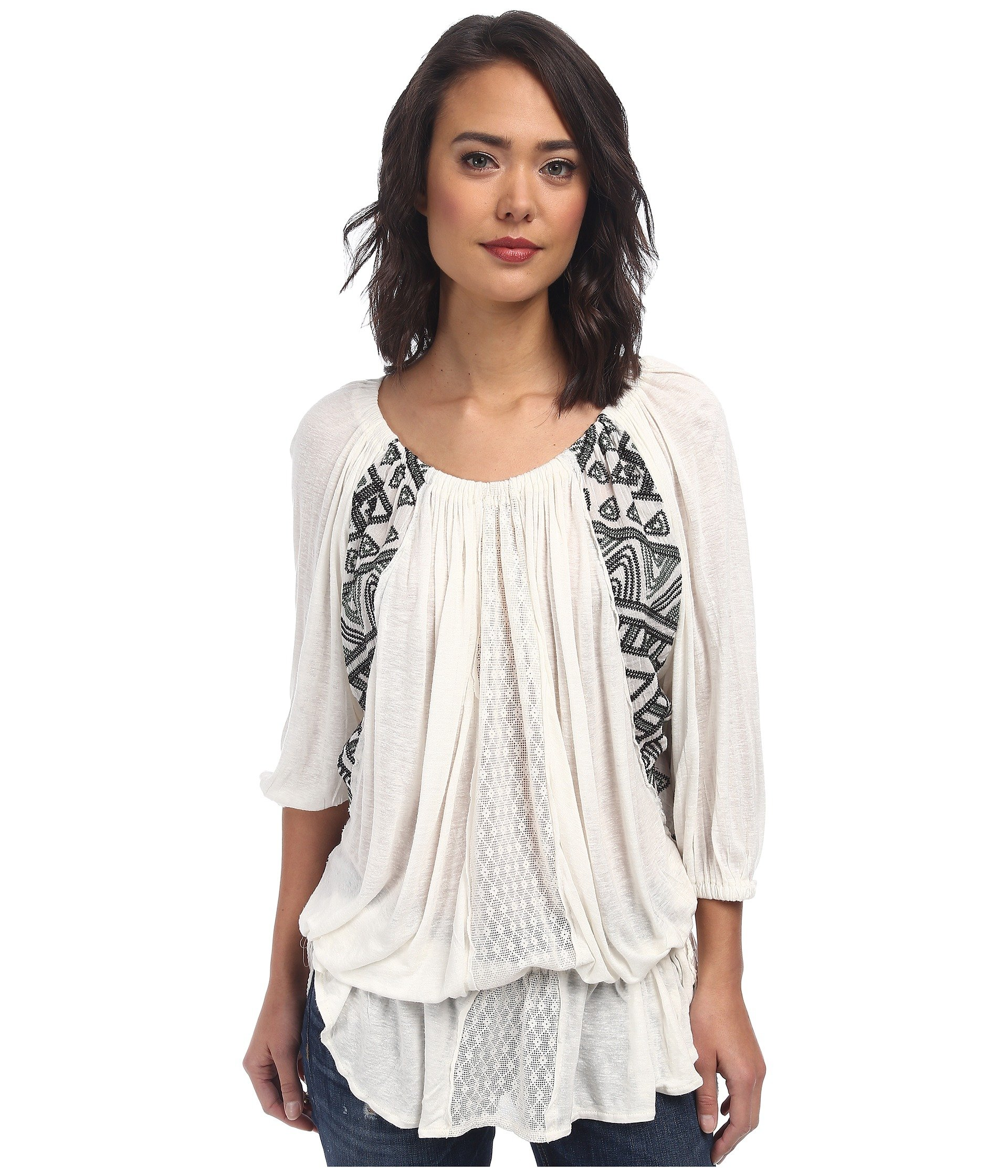 d66fddbfc7a Lyst - Free People New World Jersy Butterfly Tunic in White