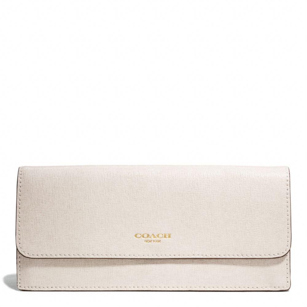 b2754e05b485 sweden authentic coach small white leather purse 07689 e9f81  50% off lyst  coach soft wallet in saffiano leather in white 6a66b 13c51