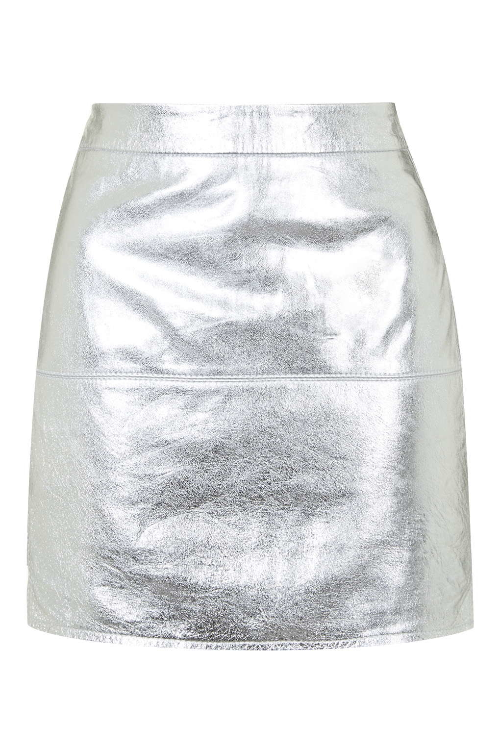 topshop metallic silver leather skirt by kendall