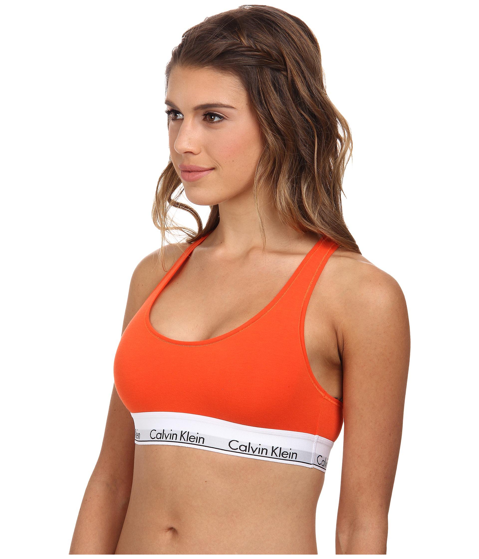 Lyst - Calvin Klein Modern Cotton Bralette F3785 in Red 33ca2d56562