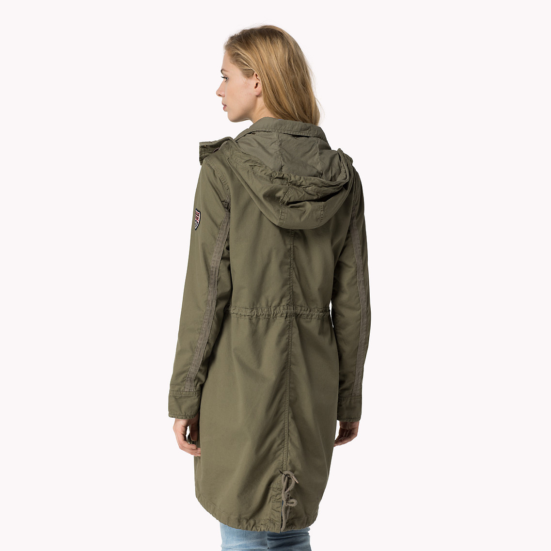 tommy hilfiger miranda cotton parka in green lyst. Black Bedroom Furniture Sets. Home Design Ideas