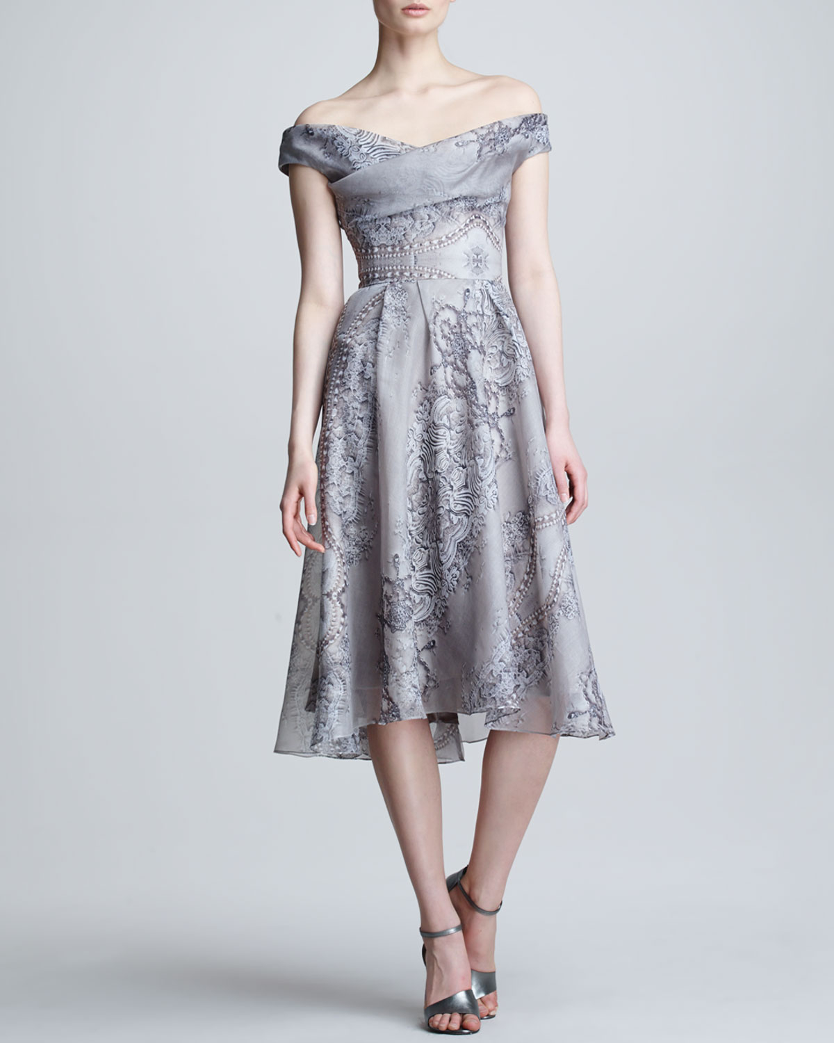 Lela rose lace pearl printed silk dress in gray lyst gallery previously sold at neiman marcus ombrellifo Choice Image