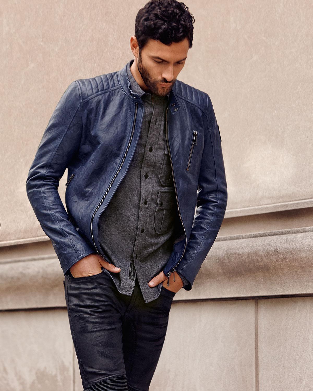 belstaff kirkham tumbled leather biker jacket in blue for. Black Bedroom Furniture Sets. Home Design Ideas