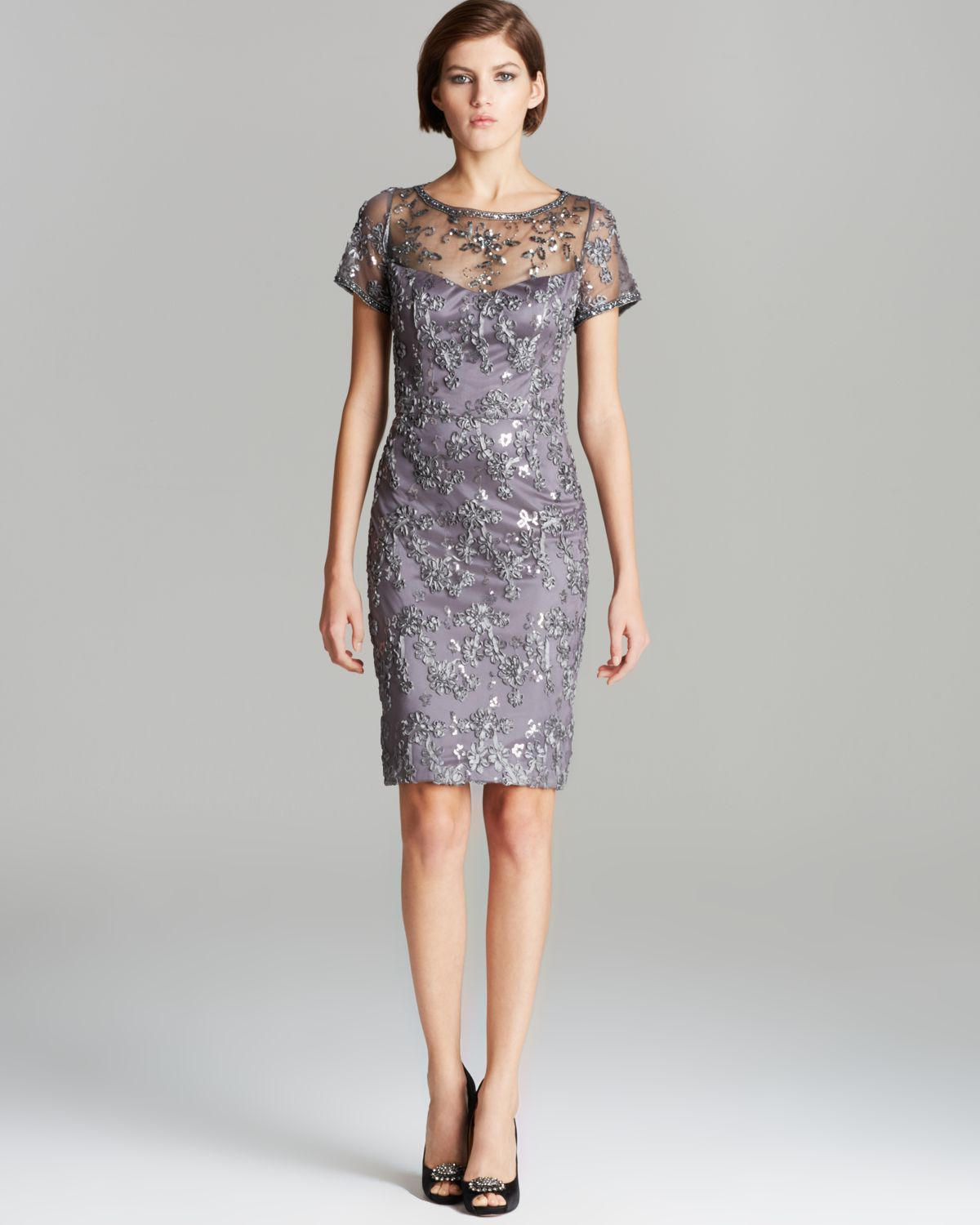 Sue Wong Dress Cap Sleeve Sequin Soutache In Gray