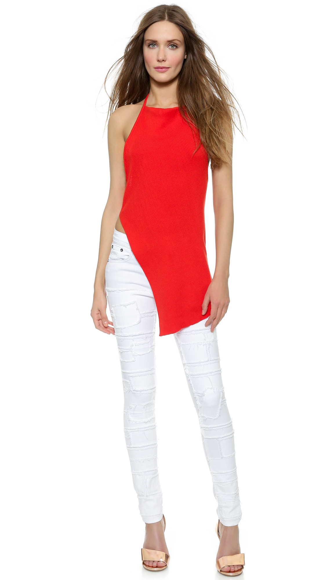3093695c5fd Lyst - Marques Almeida Asymmetrical Halter Neck Top - Red in Red