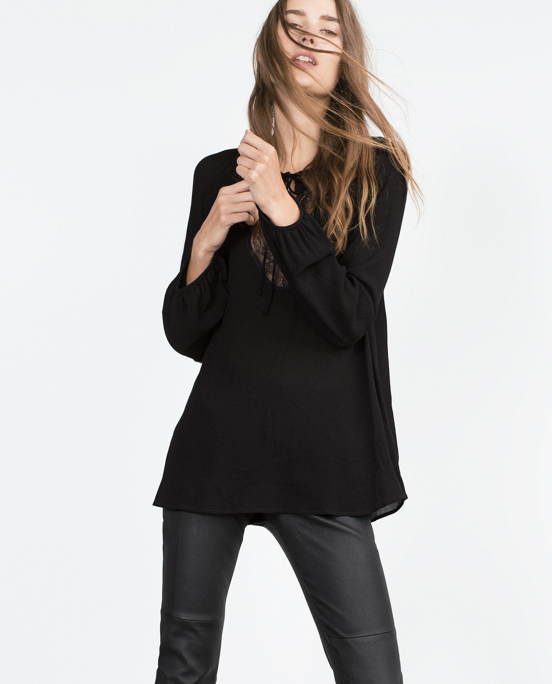 Zara Black Lace Blouse 48