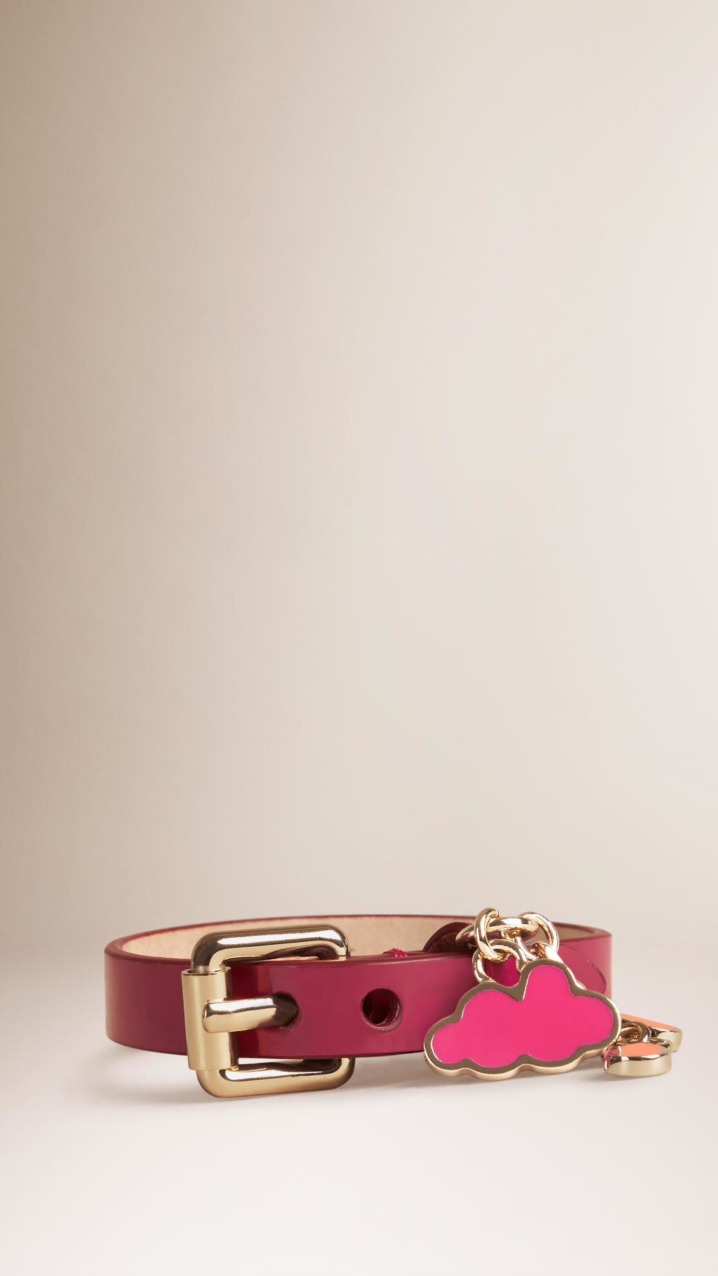 1b1c5ef3ce28 Lyst - Burberry Patent Leather Cloud Charm Bracelet in Red