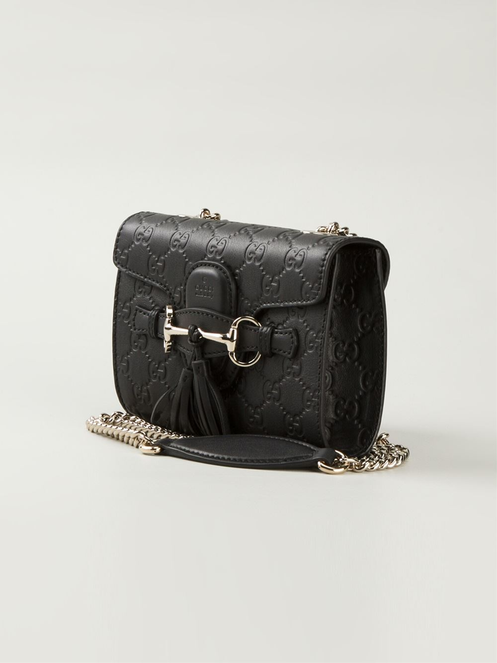 75046ad1a82 Lyst - Gucci Emily Small Calf-leather Shoulder Bag in Black