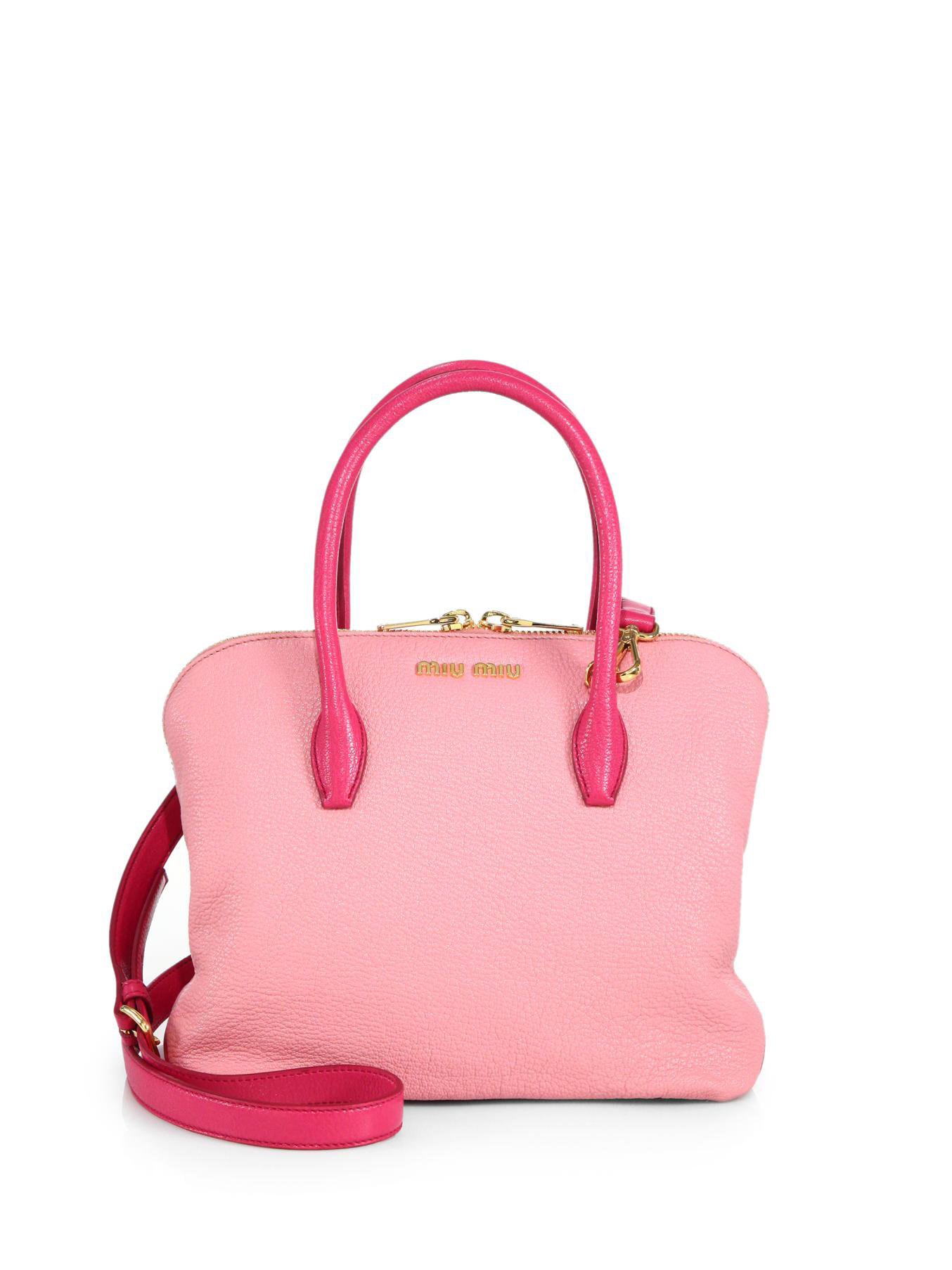 miu miu madras small leather tote in pink lyst. Black Bedroom Furniture Sets. Home Design Ideas