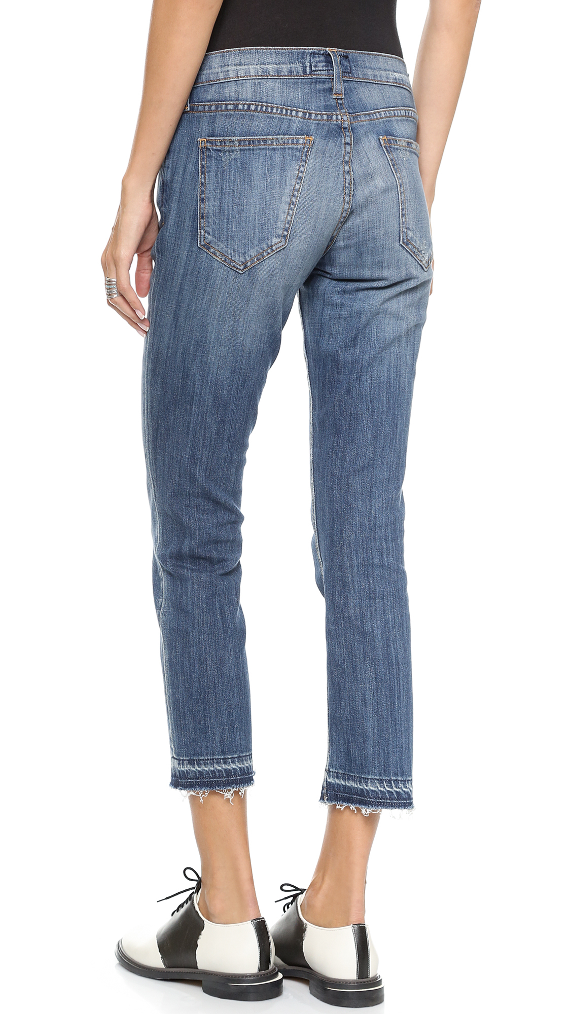 Current/elliott The Cropped Straight Leg Jeans - Jodie Destroy in ...