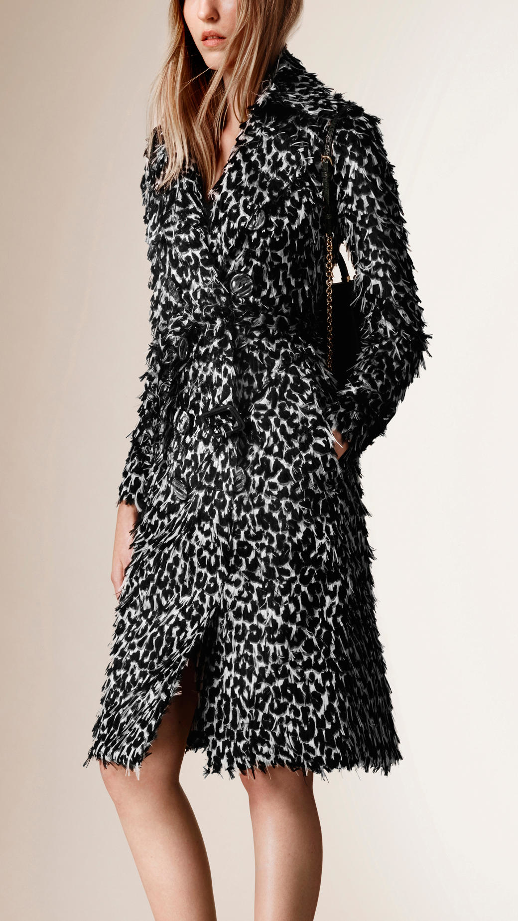 Burberry Animal Print Fil Coupé Trench Coat in Black