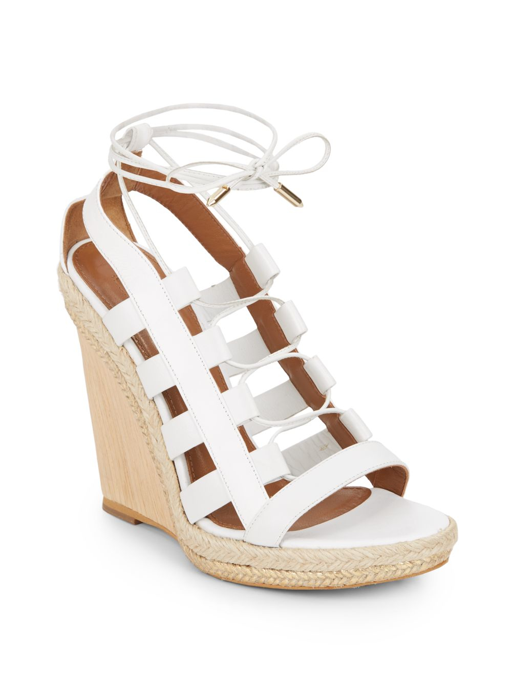 Lyst Aquazzura Amazon Wooden Wedge Lace Up Leather