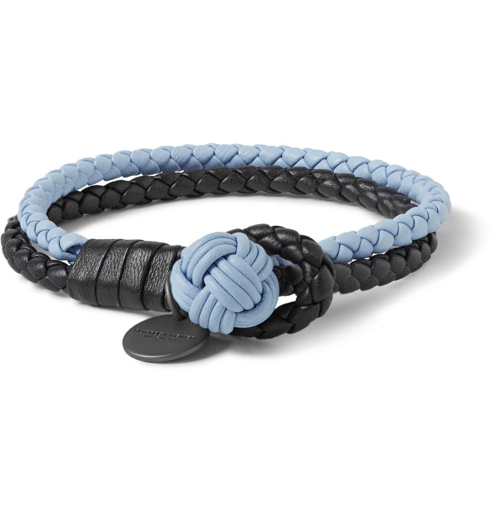 43e57ce3cbbbe Bottega Veneta Two-Tone Intrecciato Leather Wrap Bracelet in Blue ...