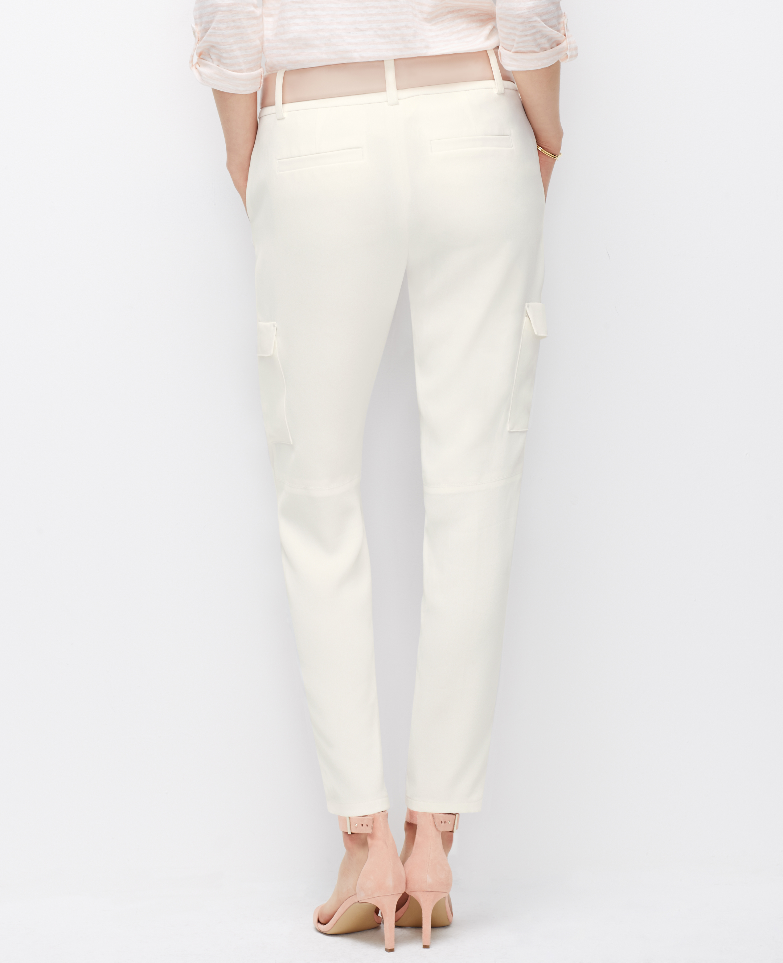 Ann taylor Petite Crepe Cargo Pants in White | Lyst