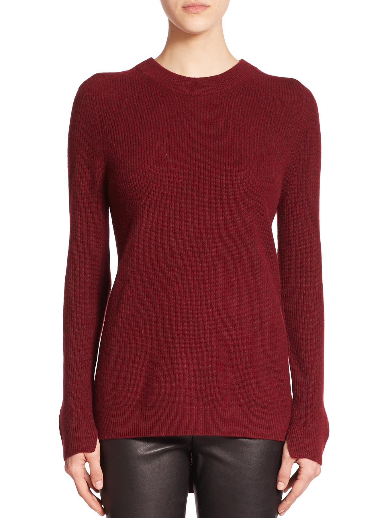 Rag & bone Valentina Ribbed Cashmere Sweater in Red | Lyst