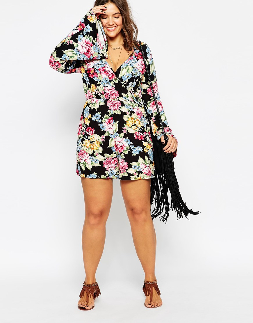 Asos Romper In Floral Print With Bell Sleeve | Lyst