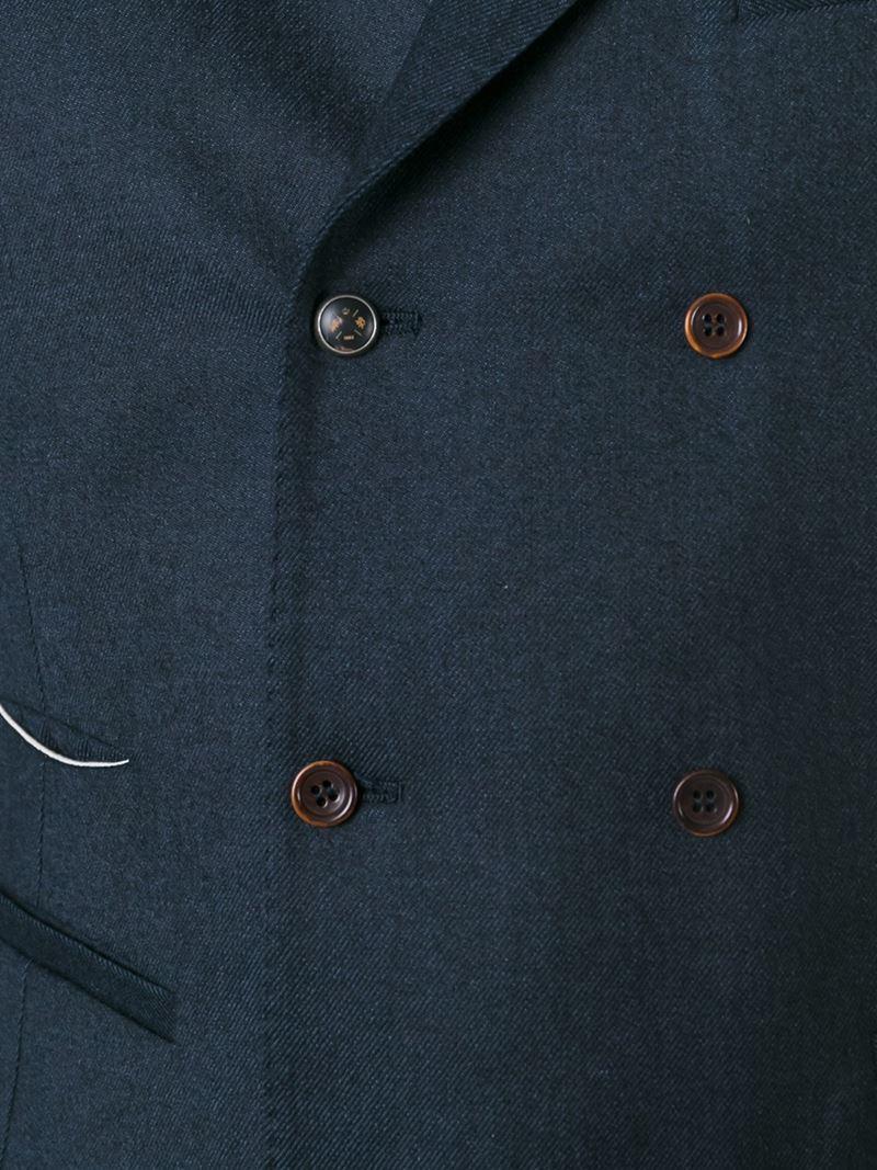 Al Duca d'Aosta 1902 Double Breasted Wiastcoat in Blue for Men