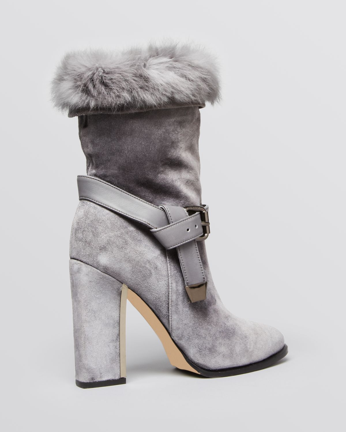 Le Silla Pointed Toe High Heel Fur Platform Boots In Gray