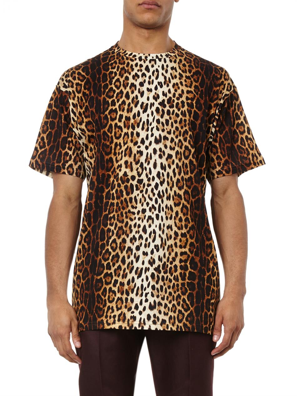 Lyst Moschino Leopard Print T Shirt In Brown For Men