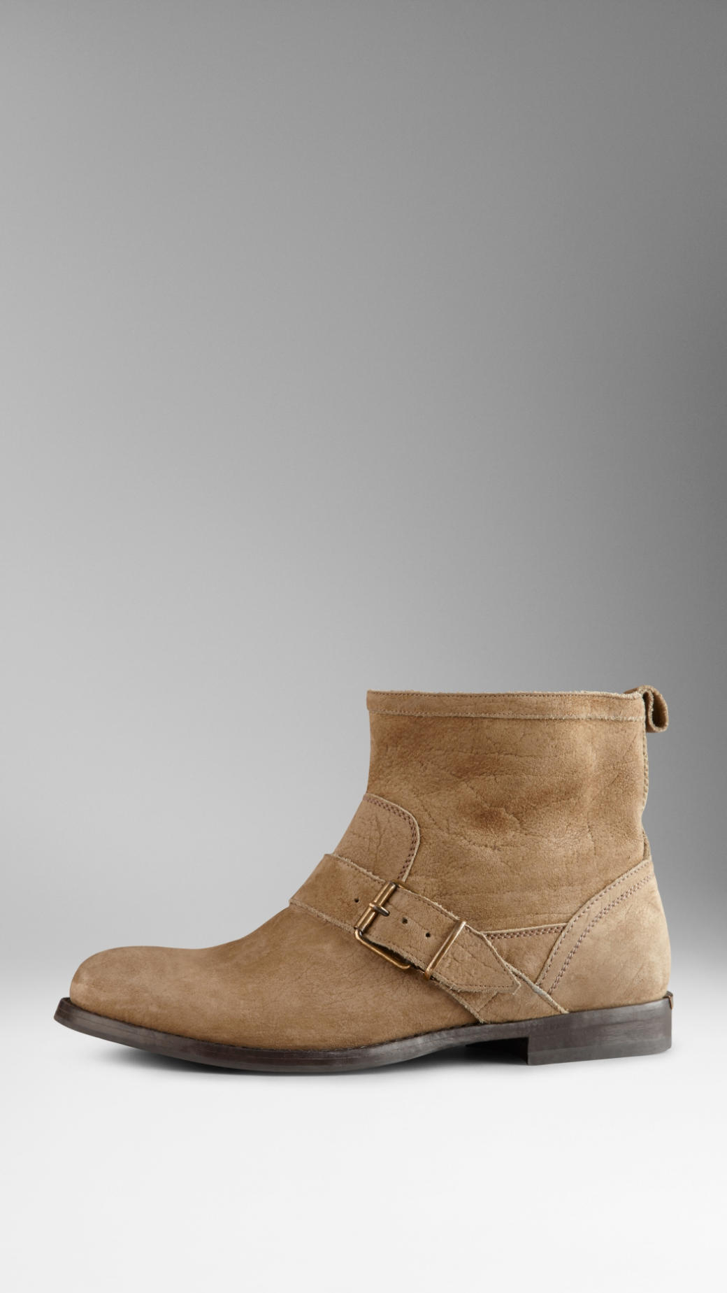 e37cb047c17 Lyst - Burberry Buckle Detail Suede Ankle Boots in Natural
