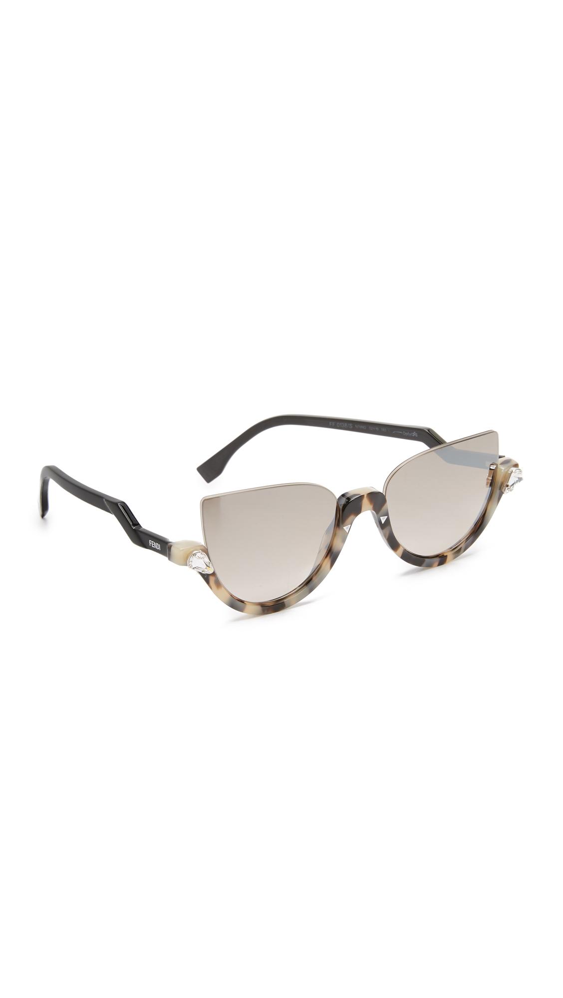 2eb7e0ea1270 Fendi Demi Crystal Sunglasses in Green - Lyst