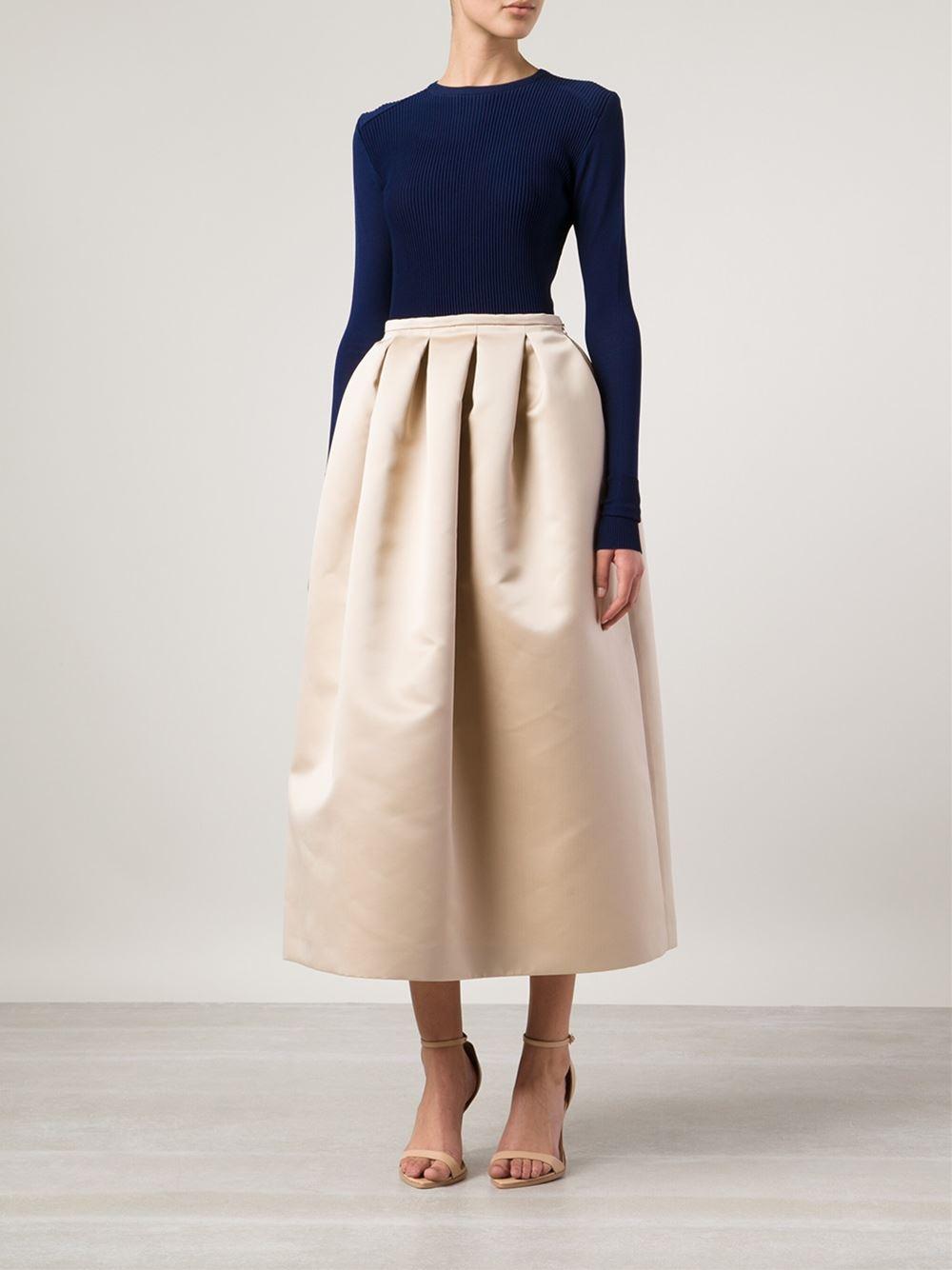 Rochas Long Full Skirt in Natural | Lyst