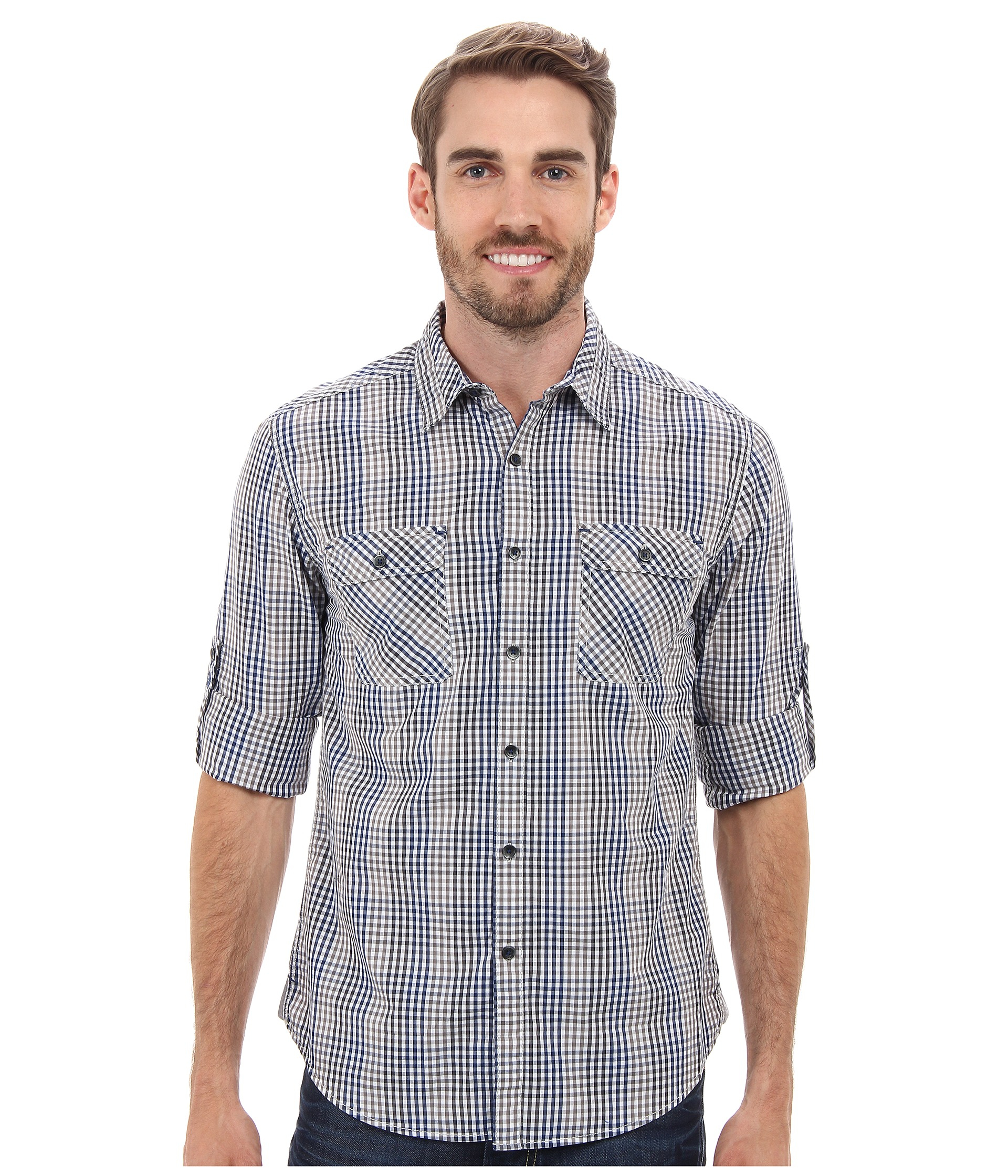 Lyst dkny long sleeve roll tab degradee check shirt in for Men s roll tab sleeve shirts