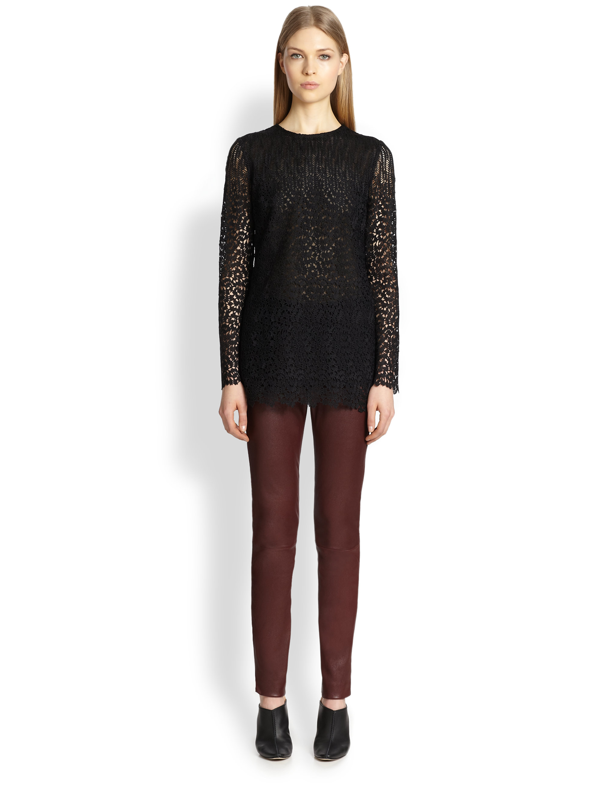 Lyst adam lippes lace tunic in black for Adam lippes women s long sleeve vee t shirt