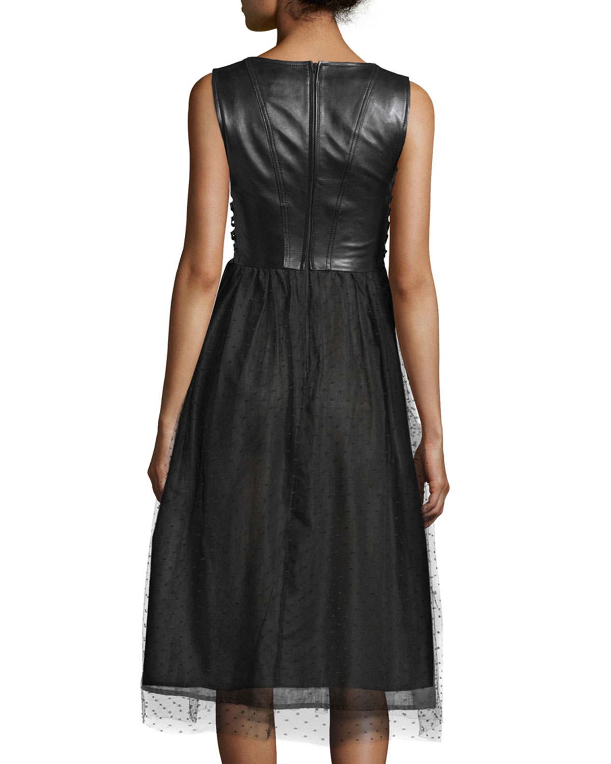 valentino sleeveless leather and point d esprit skirt