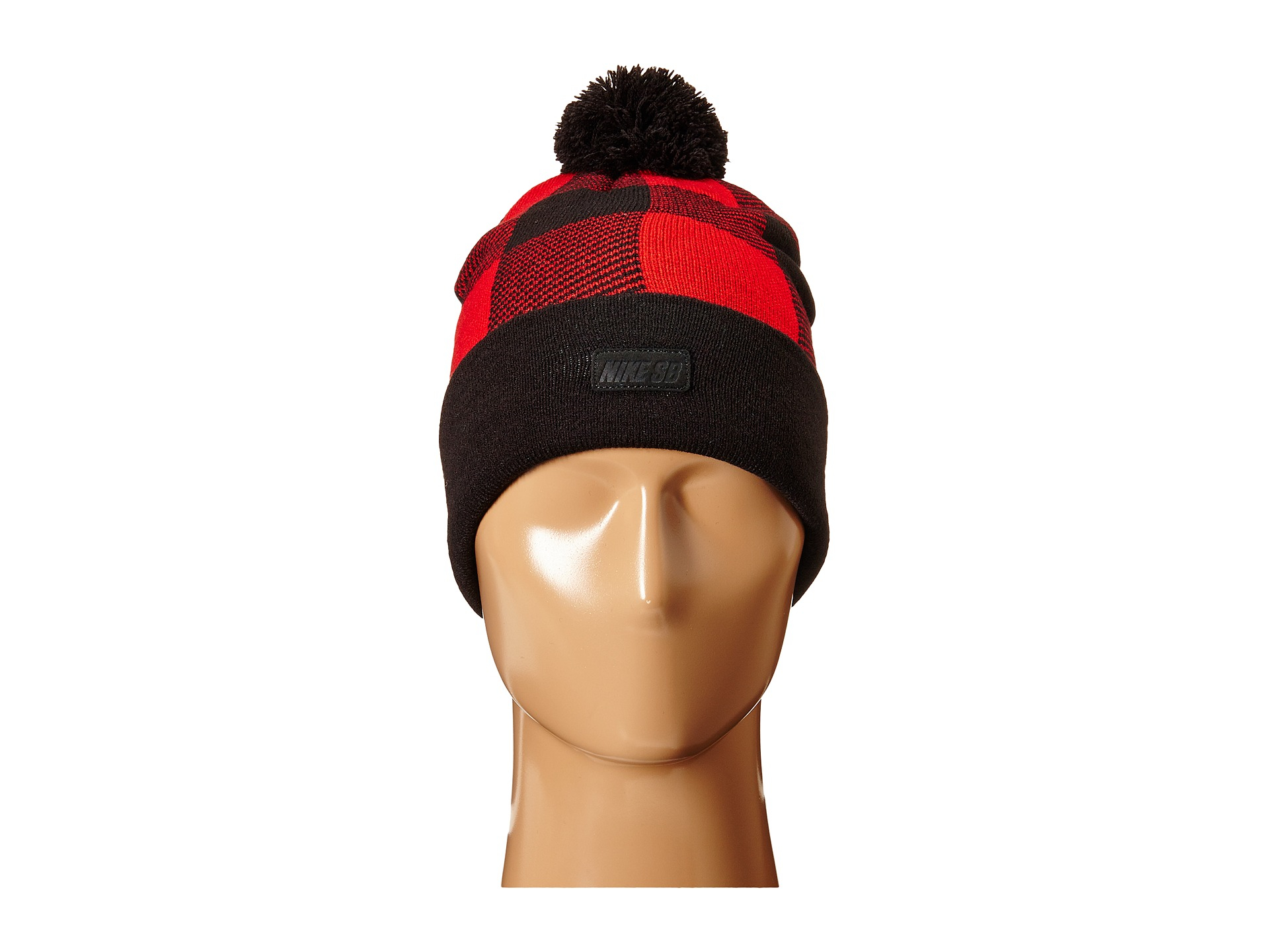 d1fd6111ad7 Lyst - Nike Buffalo Plaid Pom Beanie in Red for Men