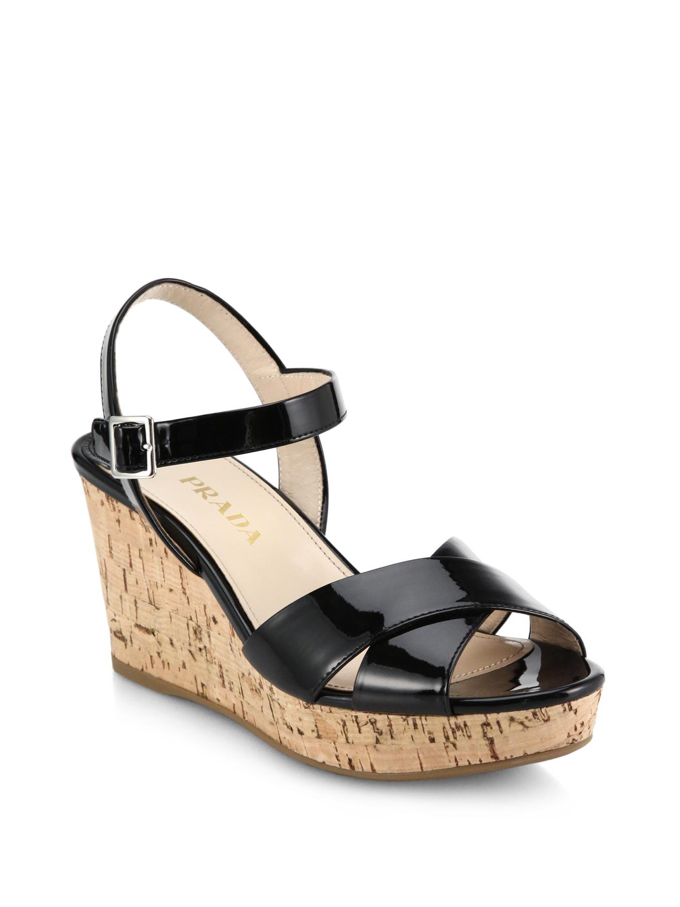 cafe48d2b Lyst - Prada Cork-wedge Patent Leather Sandals in Black