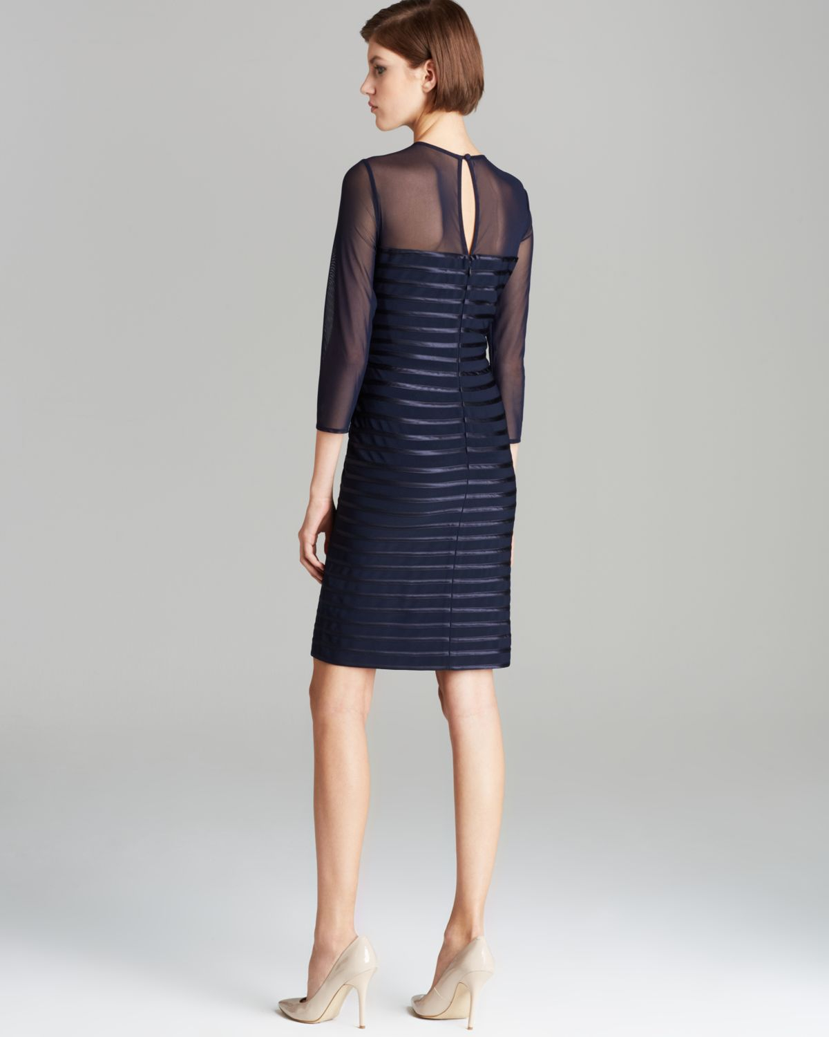 Adrianna Papell Sequin Stripe Mesh Evening Dress In Pwter