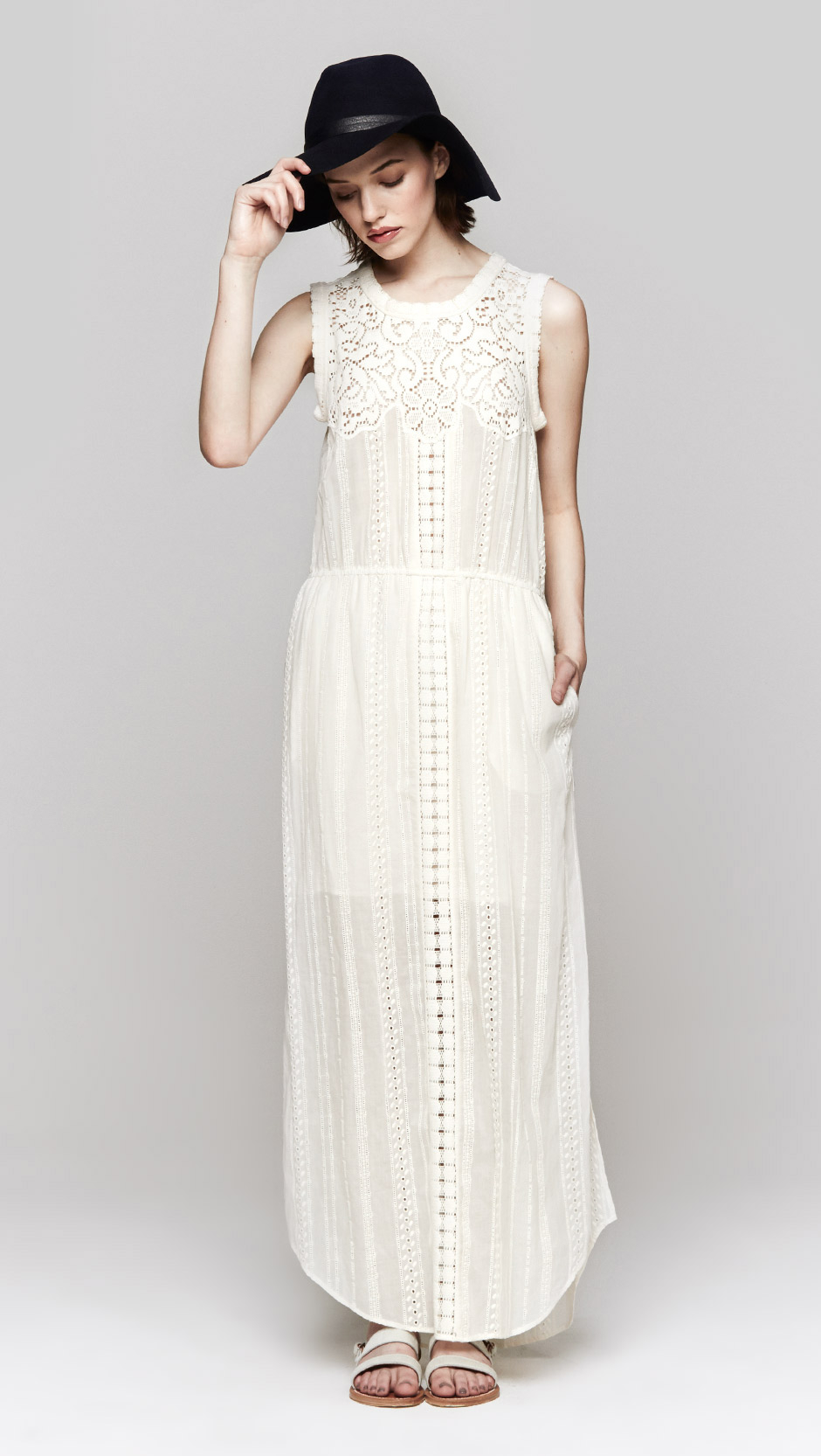 Lyst Sea Lace Eyelet Long Dress In White