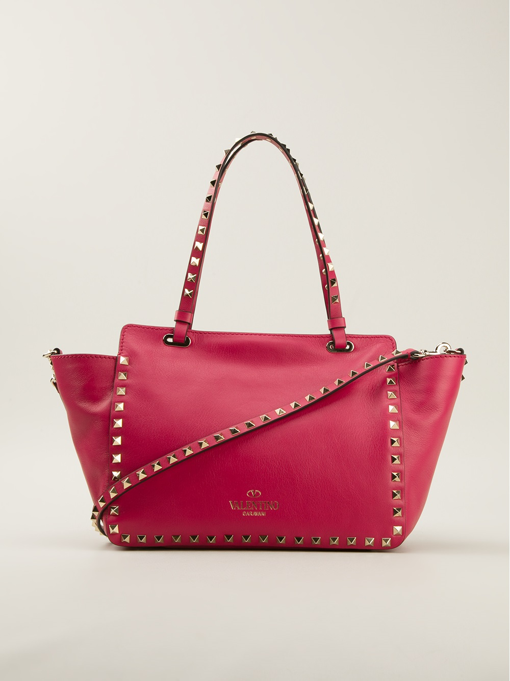 6950a01b8 Valentino Rockstud Trapeze Tote in Pink - Lyst