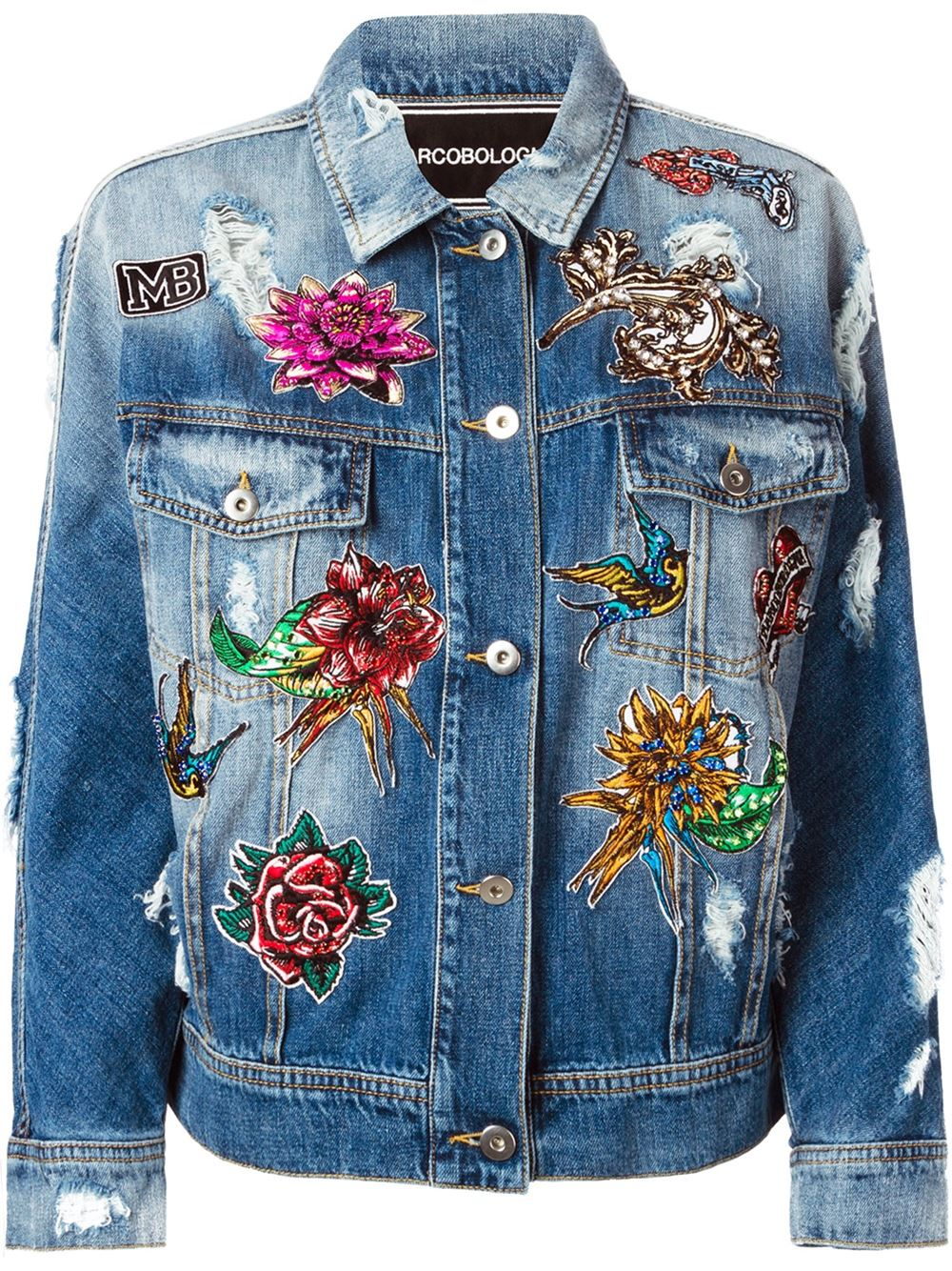 Marco Bologna Embroidered Distressed Denim Jacket In Blue | Lyst