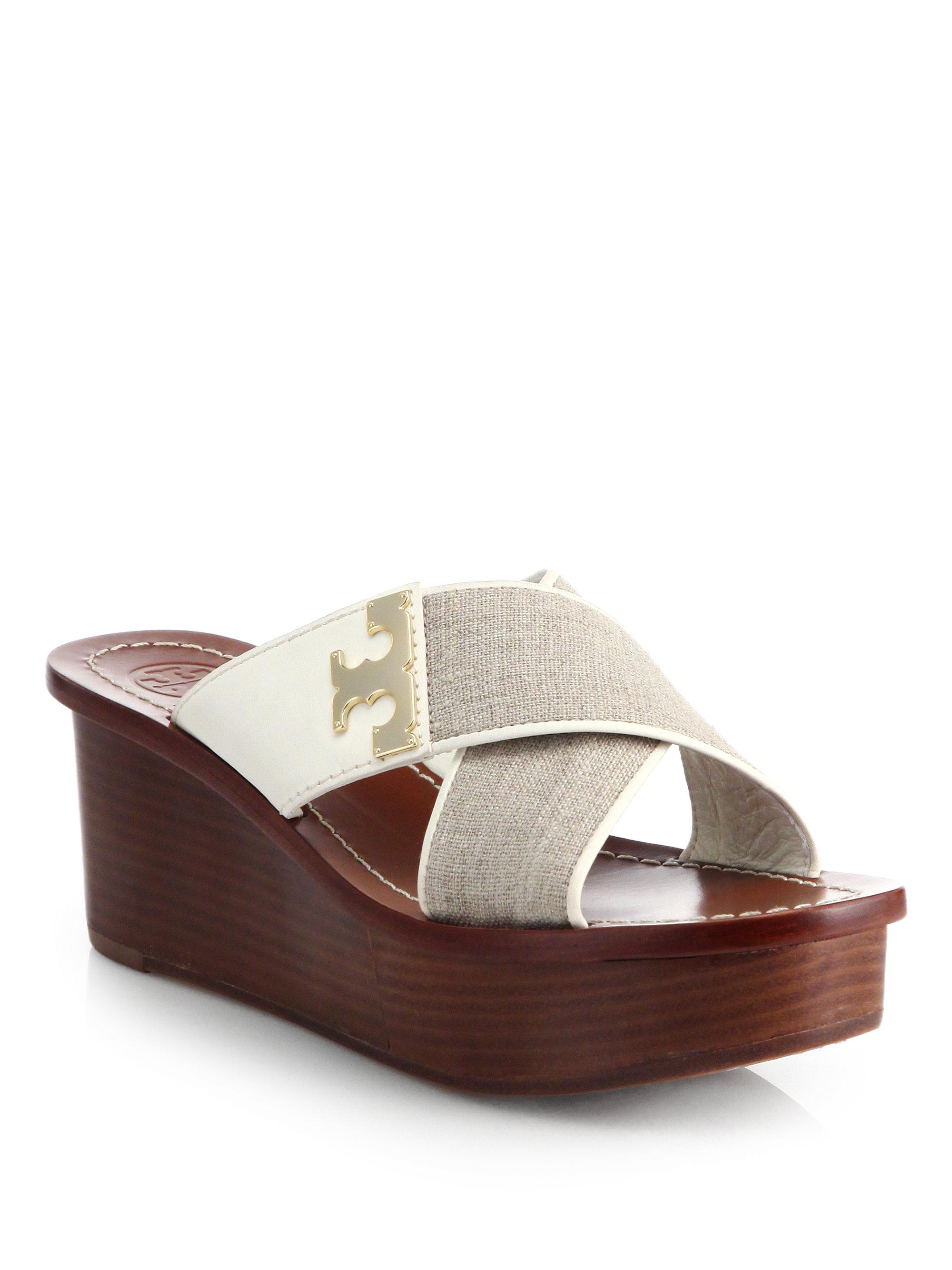 burch culver linen wedge sandals in gray lyst