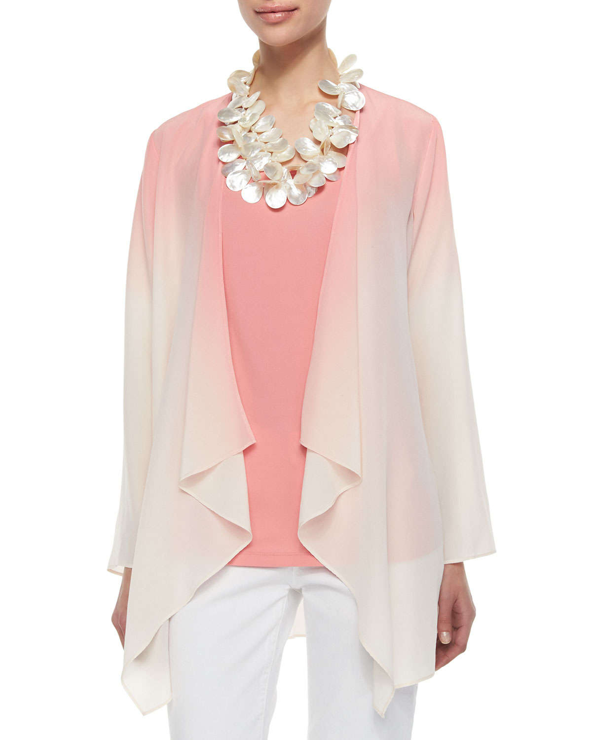 Eileen fisher Ombre Draped Long Silk Jacket in Pink | Lyst