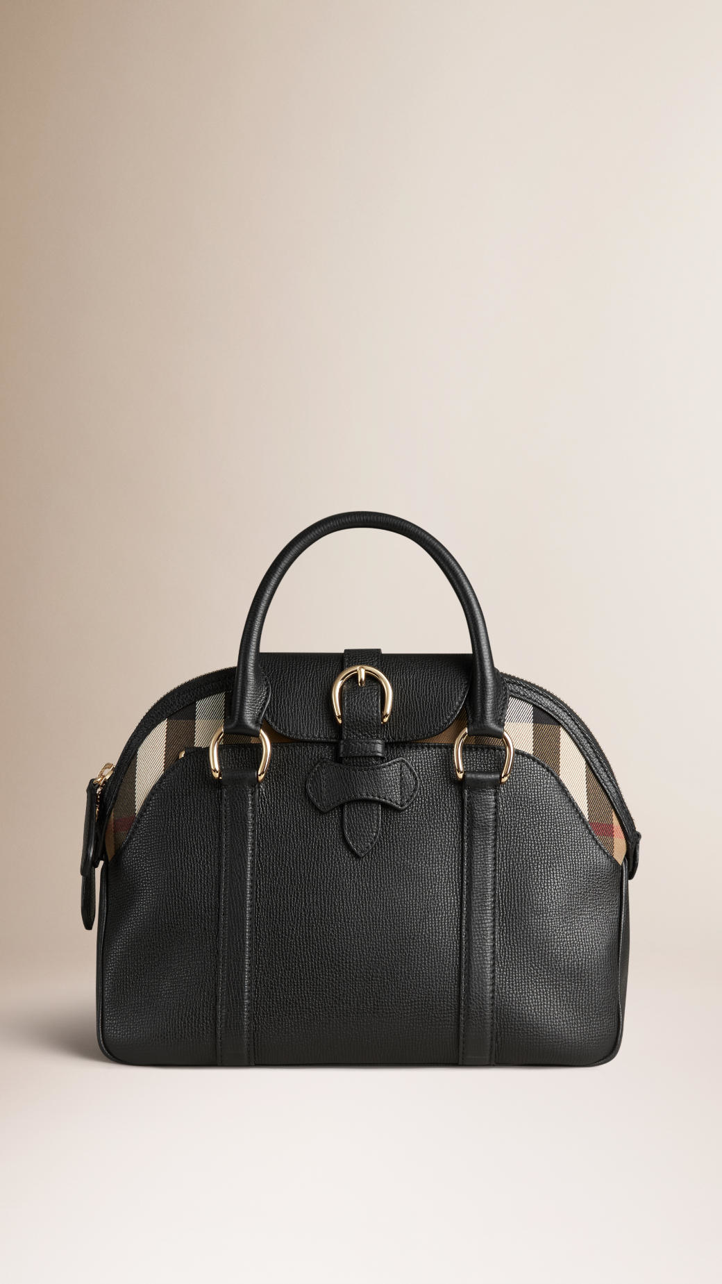 cf8dec361e9e Burberry Medium Leather And House Check Bowling Bag in .