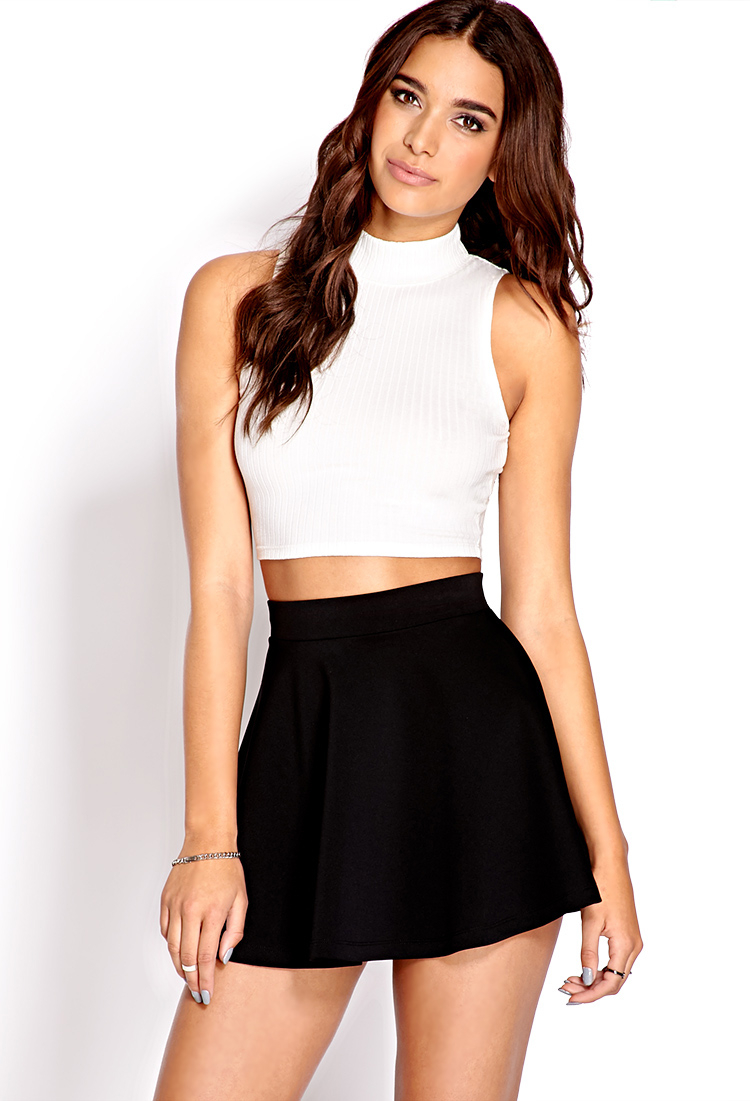 9664828d1a43da Lyst - Forever 21 Fresh Ribbed Crop Top in White
