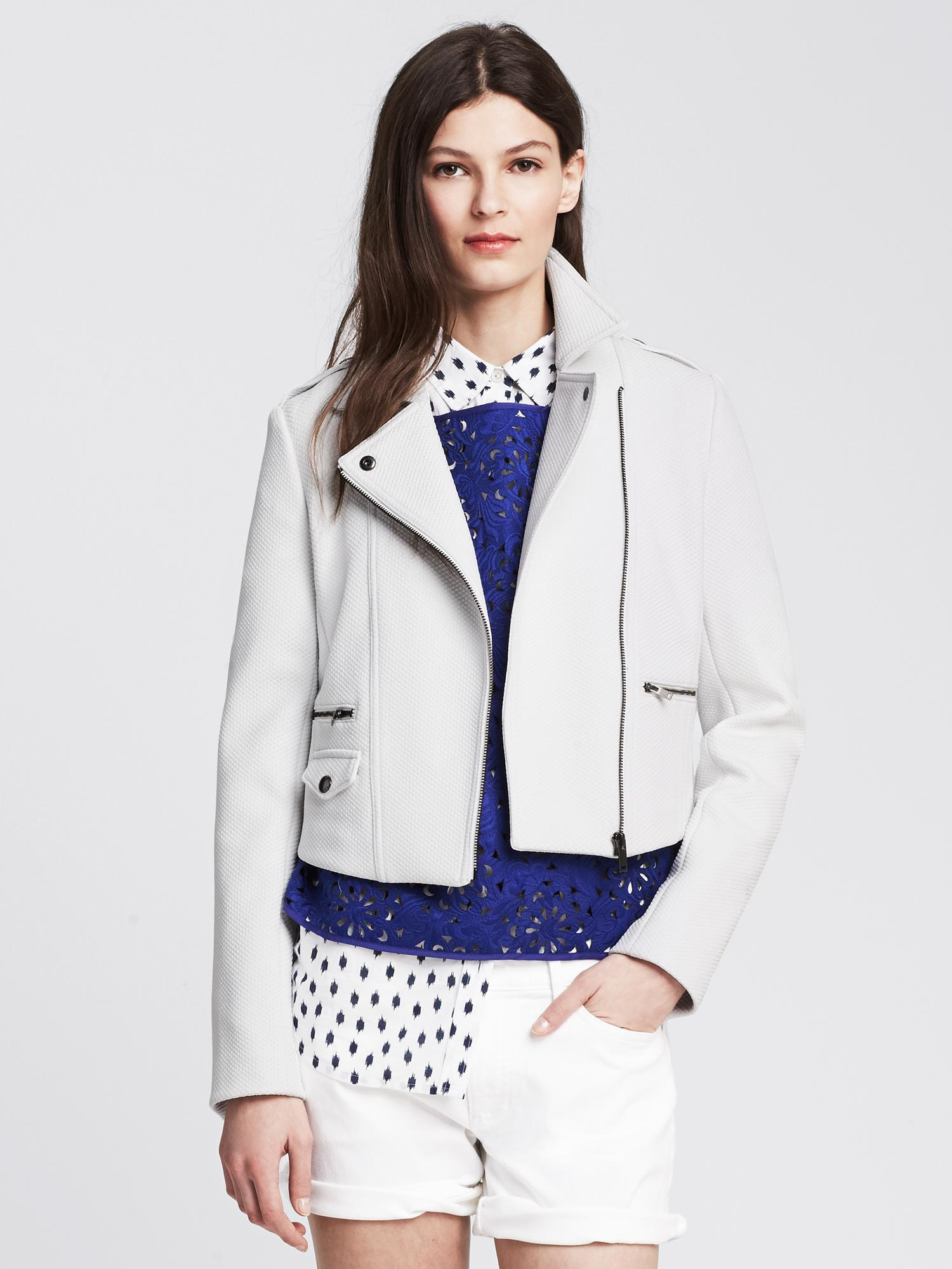 Banana Republic White Cropped Moto Jacket In White Lyst