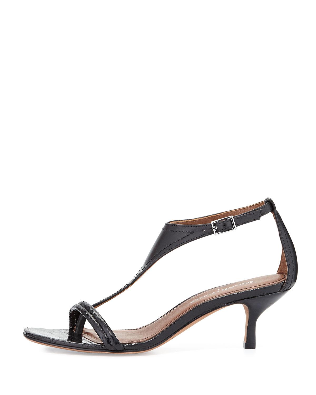 8d4259570b Donald J Pliner Monti Leather & Snake T-strap Sandal in Black - Lyst