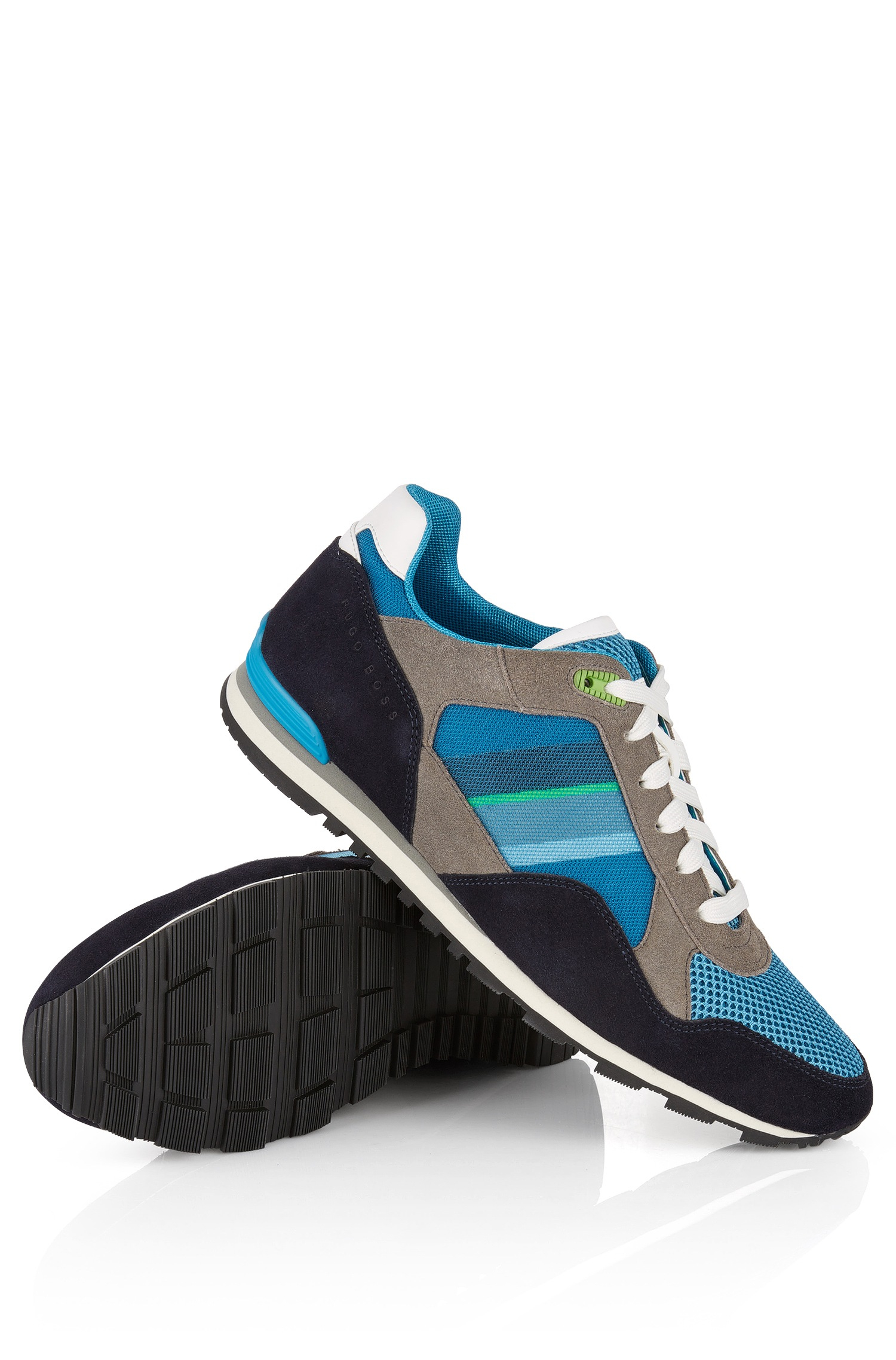 boss green suede sneakers 39 runcool 39 in blue for men open blue lyst. Black Bedroom Furniture Sets. Home Design Ideas