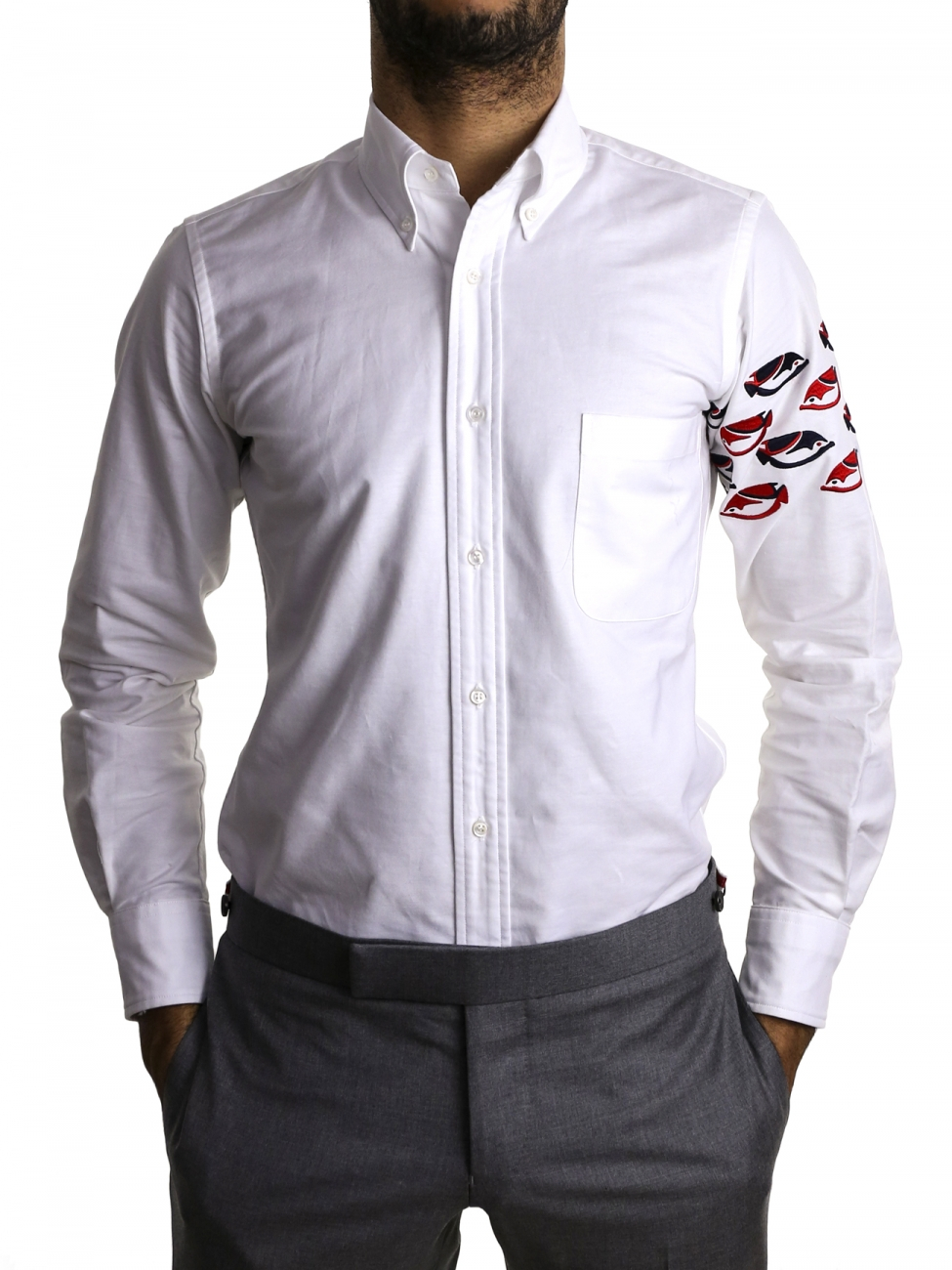 Thom browne white cotton shirt in white for men lyst for Thom browne white shirt