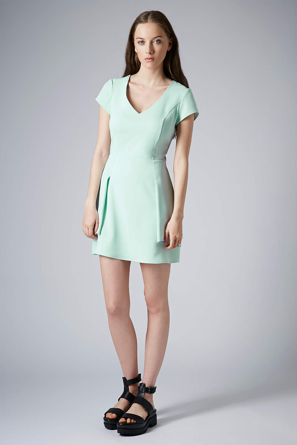 Topshop Peplum Fit And Flare Dress In Mint Green - Lyst-4031