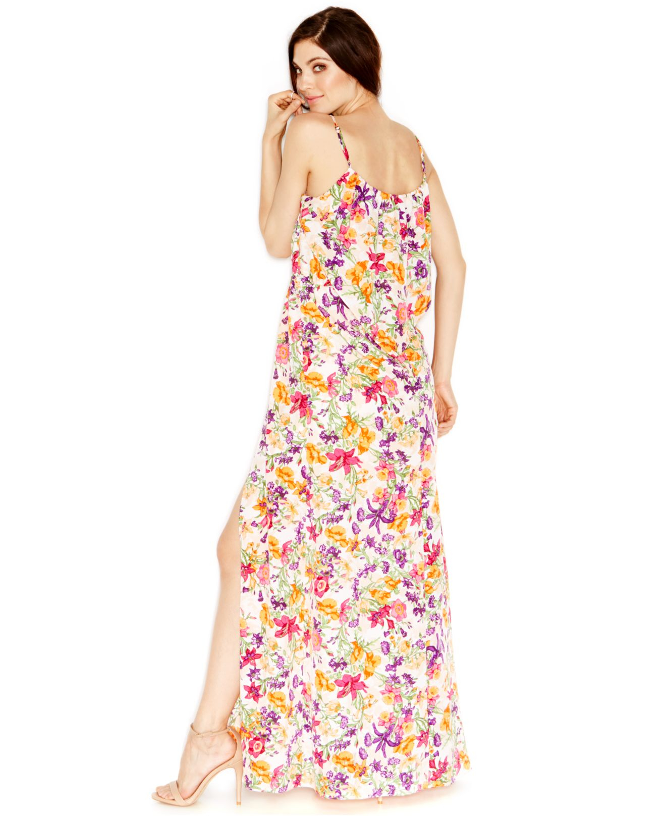 Bcbgeneration Floral-print Ruffled Maxi Dress | Lyst